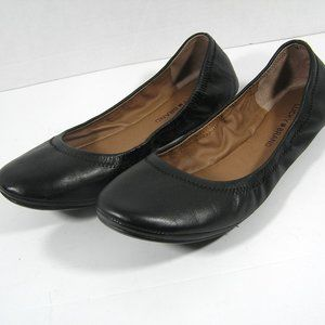 LUCKY BRAND Emmie Black Leather Ballet Flats SZ 10